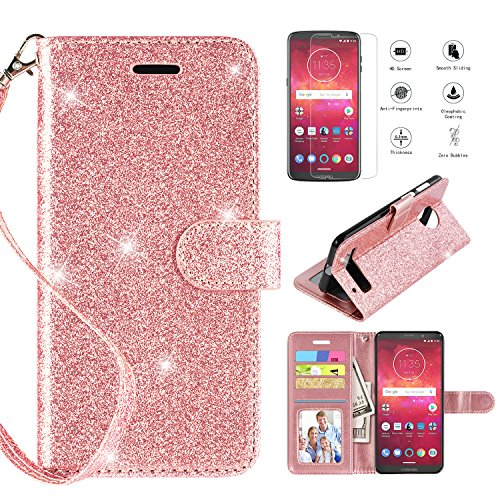 Motorola Moto Z3 Play Case, with [HD Screen Protector],Casekey [Kickstand] [Card Slots] [Wrist Strap] 2 in 1 Anti-Slip Glitter Magnetic Flip PU Leather Wallet Cover Compatible Moto Z3 Play,Rosegold