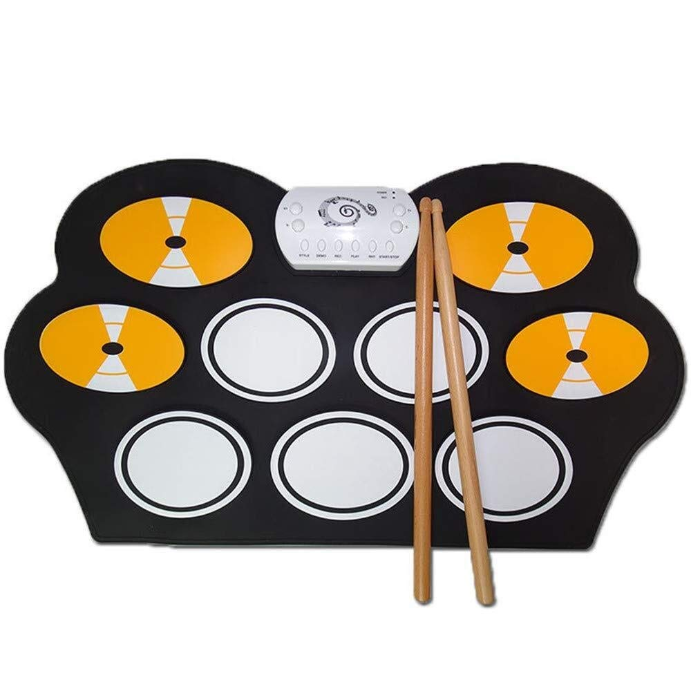 XINGXIANYIGOU Electronic Percussion pad, Folded Silicone Folding Damping, Electronic Drum Color Matching Children's Birthday Gift Outdoor Portable for Beginners