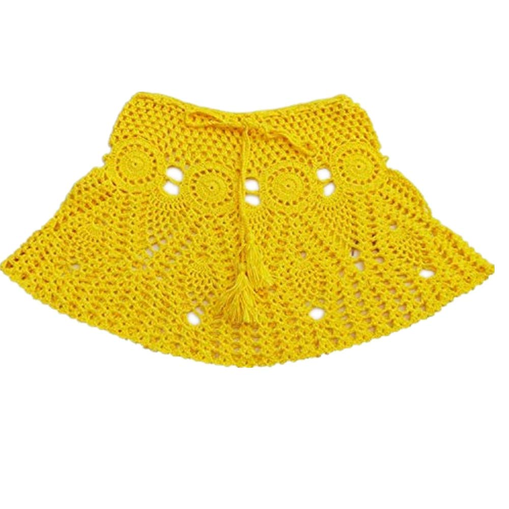 Womens Beach Skirt Sexy Fashion Comfortable Hollow A Word Bag Hip Skirt Yellow