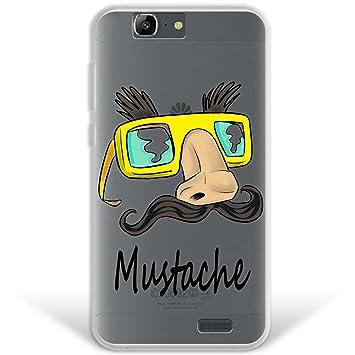 WoowCase Funda Huawei Ascend G7, [Hybrid ] Gafas Y Bigote Mustache Case Carcasa [ Huawei Ascend G7 ] Rígida Fabricada en Policarbonato y Bordes de TPU ...