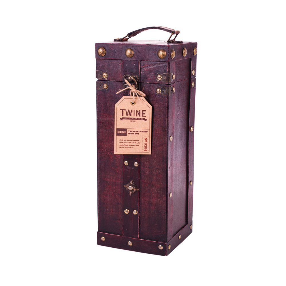 Chateau Treasure Chest Wine Box by Twine – (Holds 1 750ml Wine Bottle) by Twine (Image #1)