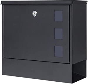 Locking Mailbox Wall Mounted Vertical– Jssmst mailboxes with Key Lock Large Capacity, 14.3 x 4.1 x 11.8 Inch, Black, SM-HPB911BN