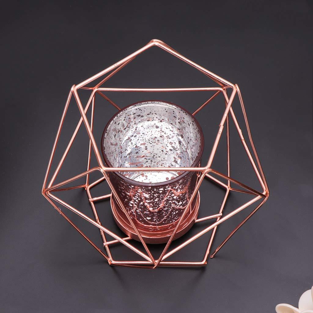siwetg Stile Nordico Decorazione per la casa Nero Portacandela in Metallo con Motivo Geometrico 3D