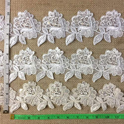 (Bridal Veil Lace Trim Classic Rose Flower Design Alencon Hand Beaded Sequined Corded Embroidered Organza. 3