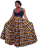 African Planet Women's Trees Cotton Wax Skirt Burundi Inspired Elastic Waist Maxi