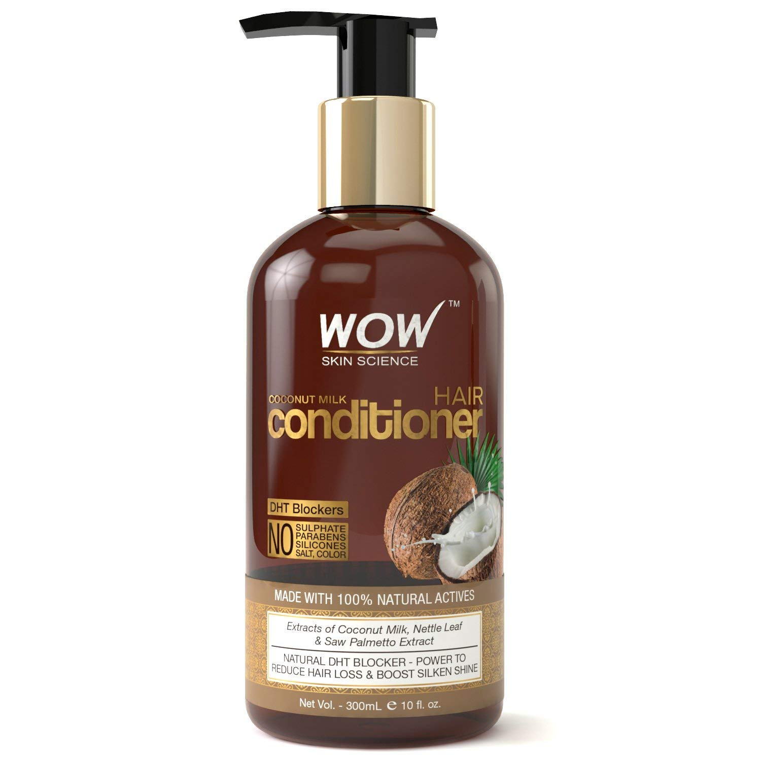 WOW Coconut Milk Conditioner - No Parabens,Minerals Silicones,& Color -with DHT BLOCKERS -300mL product image