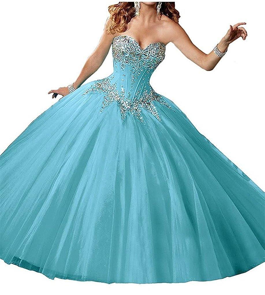 bluee Zhu Li Ya Women's Ball Gown Rhinestone Prom Party Quinceanera Dresses