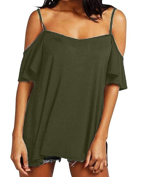 57a8d92fd ZANZEA Womens Off The Shoulder Plus Size Top Sexy Short Sleeve Summer T  Shirt Cold Shoulder