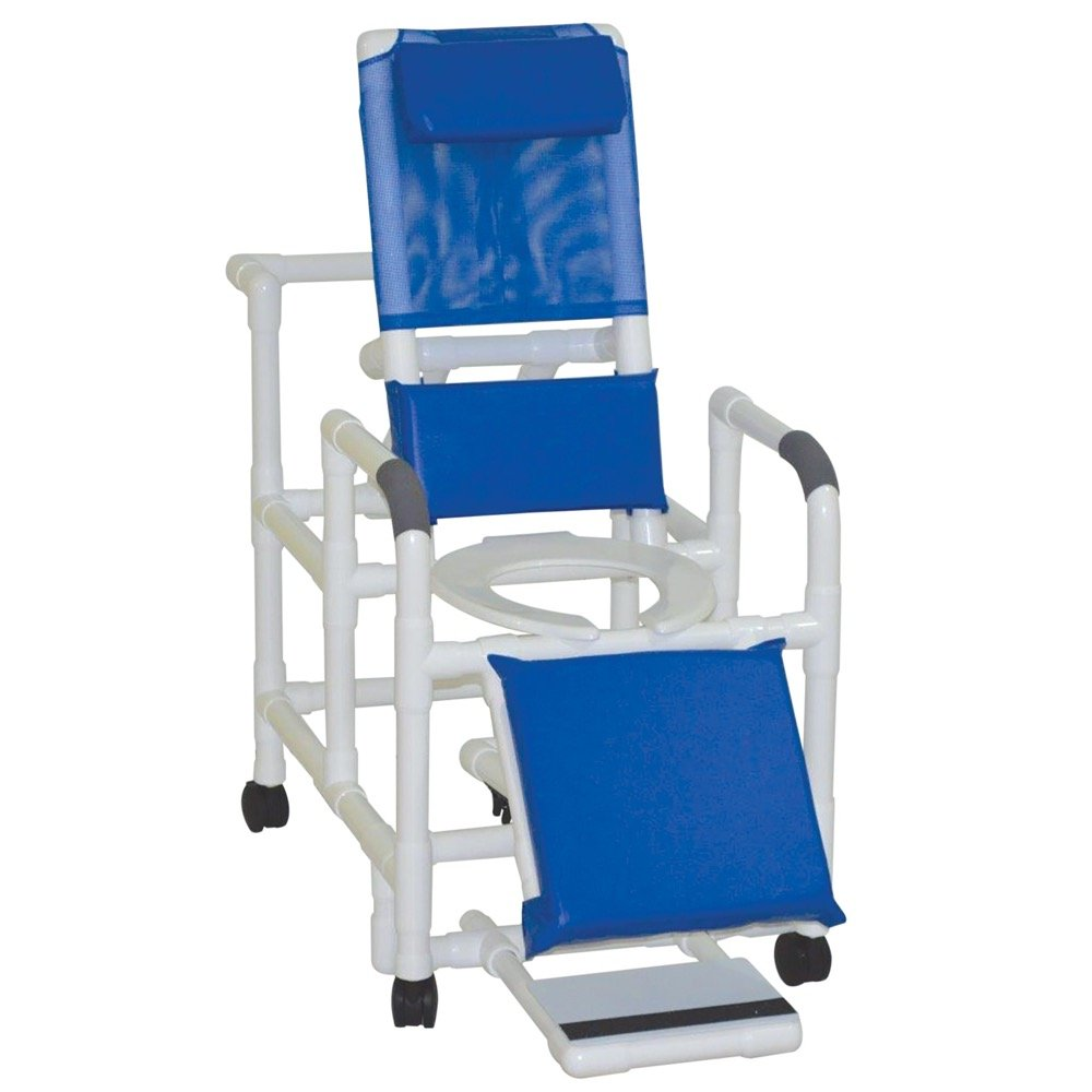 MJM International 196 Reclining Shower Chair with Elevated Leg Extension and Slide Out Footrest, 325 oz Capacity, Royal Blue/Forest Green/Mauve