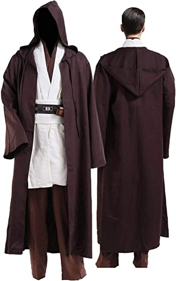 Star Wars Adult Hooded Jedi Brown Robe Costume Cosplay Halloween Party Carnival