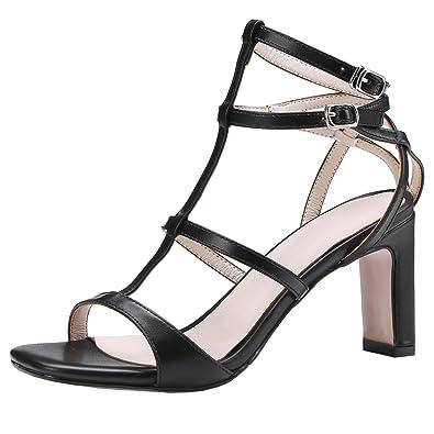 029df430e3abba AIYOUMEI Damen T-Spangen Sandalen Lack High Heels Sandaletten mit  Blockabsatz Schuhe Offen Absatz 8CM