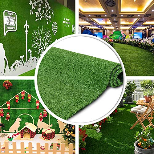 Petgrow 6 FT X 10 FT Synthetic Artificial Grass Turf for Garden Backyard Patio Balcony, Drainage Holes & Rubber Backing,Indoor Outdoor Faux Grass Astro Rug,DIY Decorations for Fence Backdrop ()