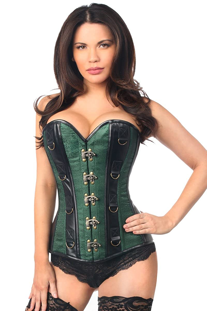 Green DaisyCorsets Womens Top Drawer Brocade & Faux Leather Steel Boned Corset