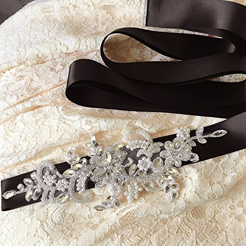 Sashes Crystal Women's for Bridal Azaleas White Wedding Belt Belts Sash Off Wedding 8w0dd5
