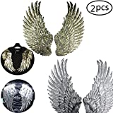#9: Cha Long 2 Pairs of Sequins Angel Wings Iron On Patch DIY Embroidered Applique Bling Wings for Jackets Cloth Decoration GOLD and SILVER