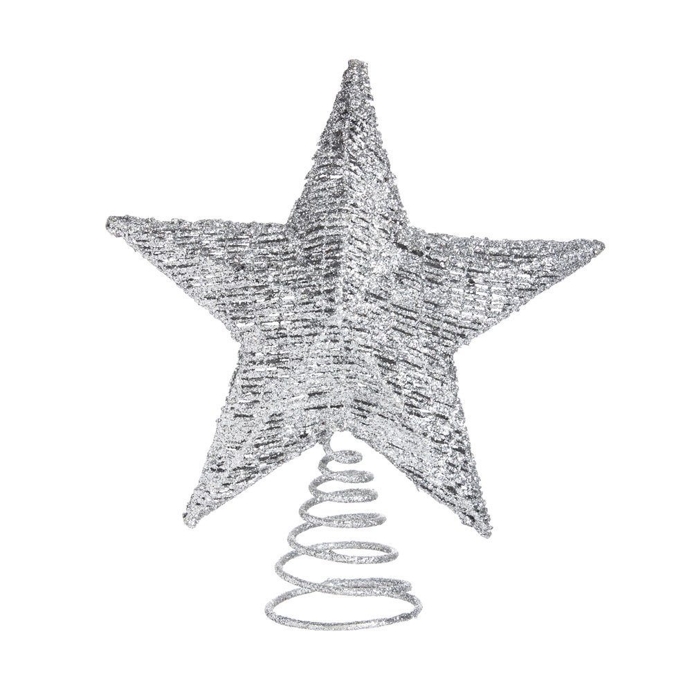 Cypress Home Silver Glitter Star Tree Topper