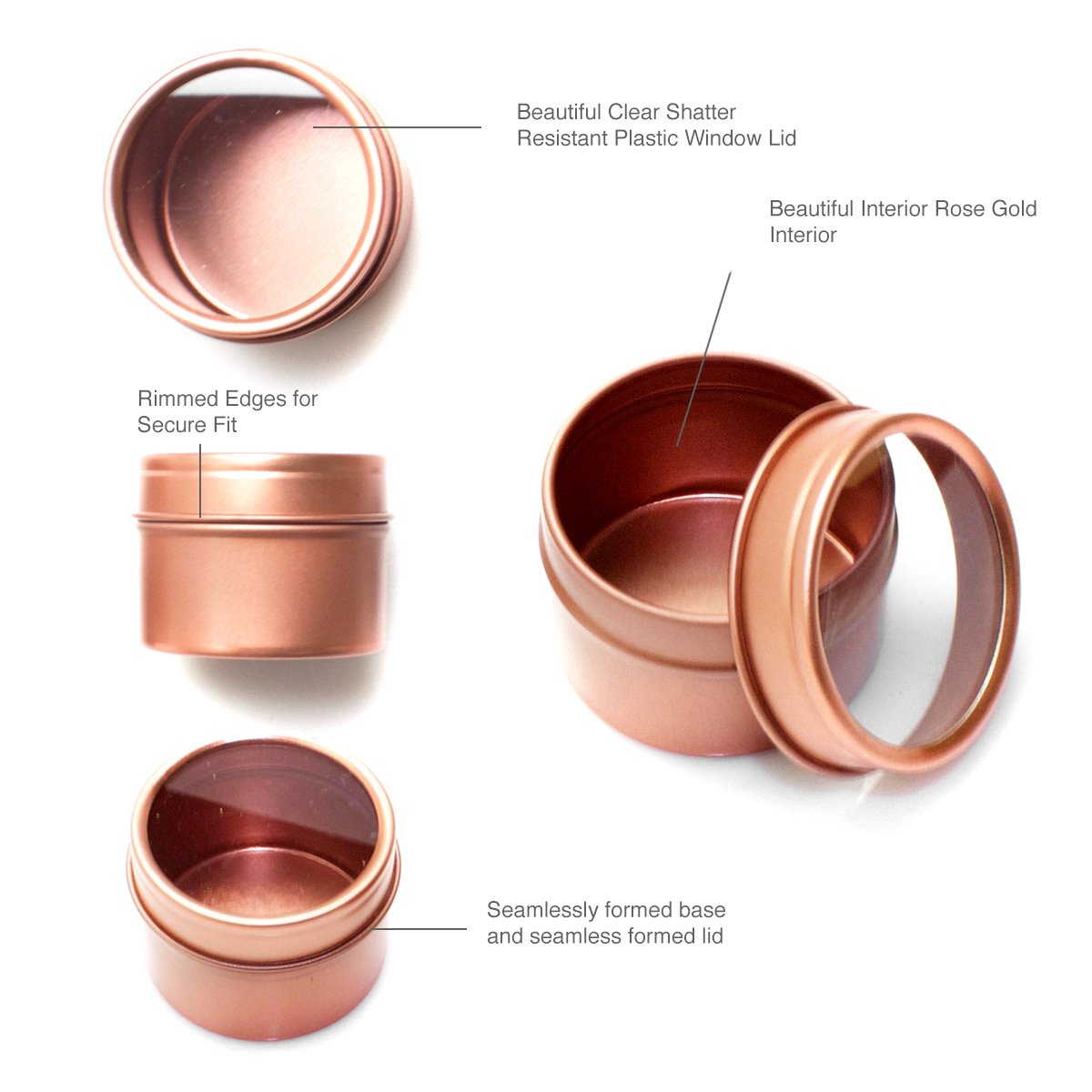 Craft Clouds Mimi Pack 4 oz Deep Round Clear Window Metal Tin Container Slip Top Lid For Salves, Favors, Spices, Balms, Candles, Gifts Limited Run Series 24 Pack (Rose Gold)
