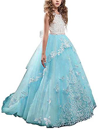 948c2bfa013 Mulanbridal Butterfly Lace Flower Girls Dresses Kids First Communion Dress  Princess Wedding Pageant Ball Gowns Blue