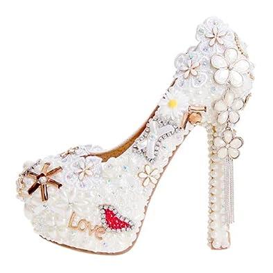 Amazon tda womens high heel flowers tassels pearl wedding tda womens high heel flowers tassels white pearl wedding party dress stiletto pumps 9 b mightylinksfo