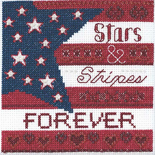 Stars and Stripes Beaded Counted Cross Stitch Kit Mill Hill 2019 Patriotic Quartet Collection - Cross Stitch Kit Mill