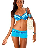 ASSKDAN Femme Bikini 2 Pieces Imprimé Set soutien-gorge à Bretelle Push-up Maillot de bain Shorty