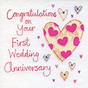 Hand Finished First Wedding Anniversary Card: Amazon.co.uk ...