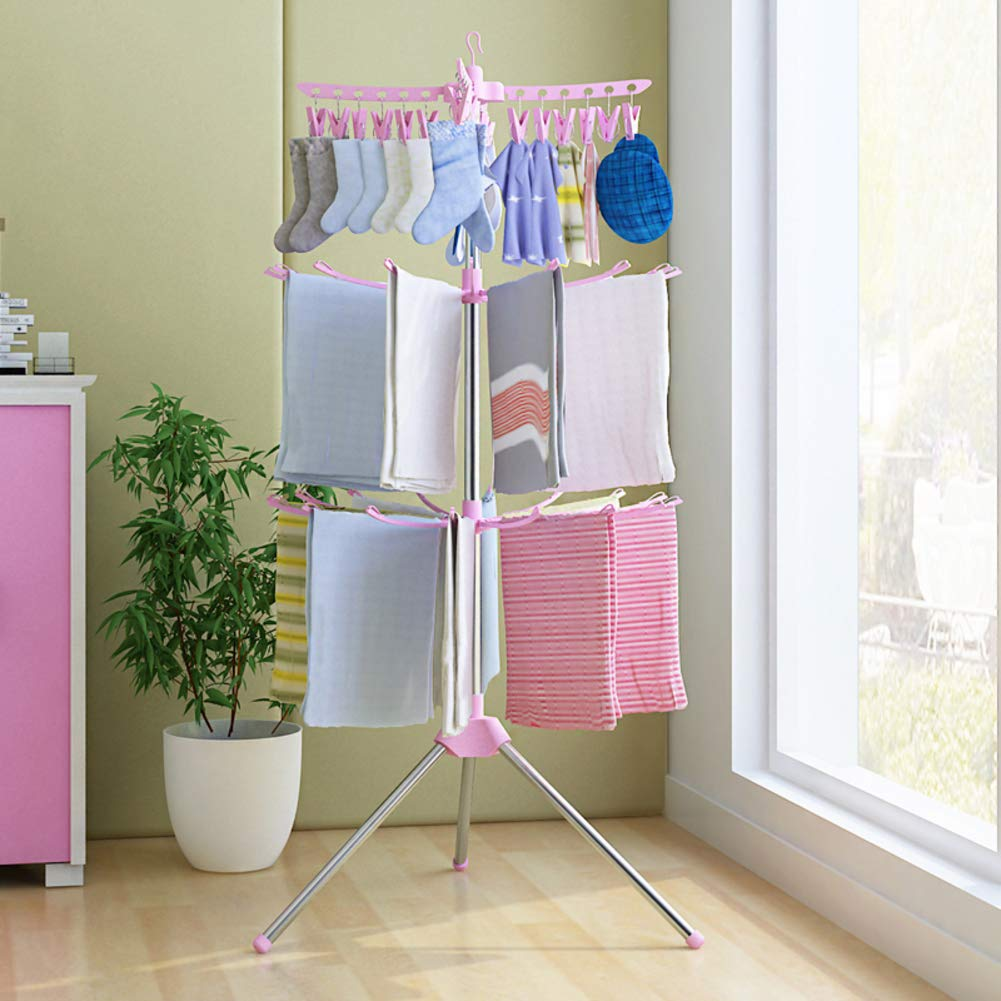 Collapsible Portable Indoor Tripod Clothes Drying Rack for Hanging Laundry, Portable Floor Garment Racks, Multifunctional Retractable Laundry Dryer-Pink 69x170cm(27x67inch) KBFCHDVCYEWS