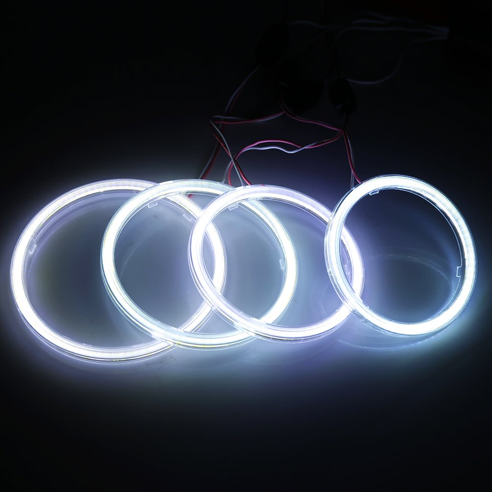 Qiilu QL00904 1 paio auto Halo Anelli Angel Eye COB Chip faro DRL LED per auto moto 120mm