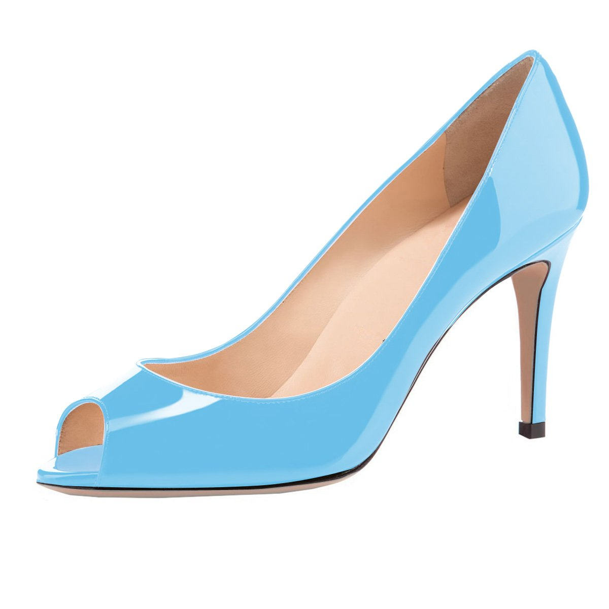Eldof Women Peep Toe Pumps Mid-Heel Pumps Formal Wedding Bridal Classic Heel Open Toe Stiletto B07F1N354Q 5 B(M) US|Blue