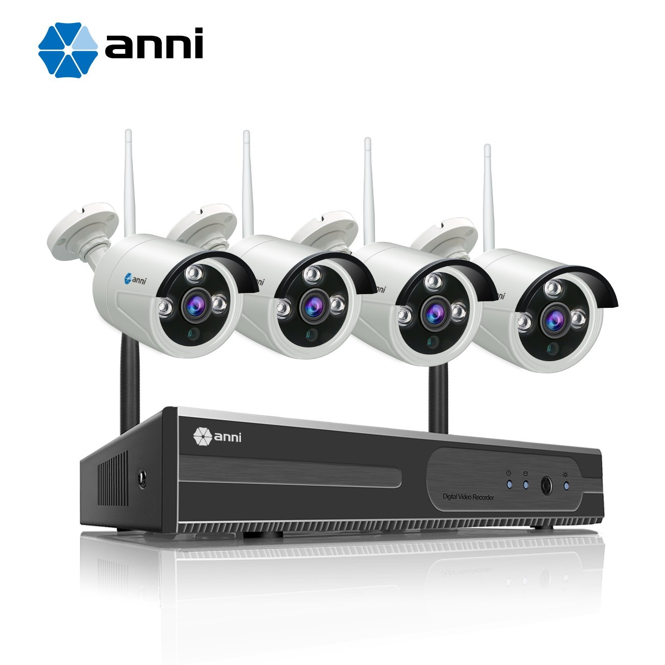 Anni 4CH 720P HD Surveillance System, Wireless NVR Kit with 4 x 1.0MP Wireless Indoor Outdoor Security Cameras, P2P, 65ft Night Vision, NO HDD by Anni