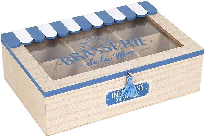 Caja Retro Madera Decorativa para Te e Infusiones Brasserte. Cajas Multiusos. Menaje de Cocina. Regalos Originales. Decoración Hogar. 24 x 16 x 7,50 cm.: Amazon.es: Hogar