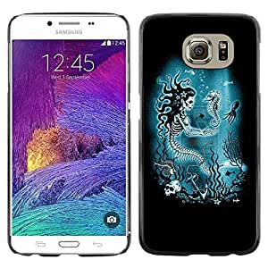 Colorful Printed Hard Protective Back Case Cover Shell Skin for Samsung Galaxy S6 / SM-G920 / SM-G920A / SM-G920T / SM-G920F / SM-G920I ( Blue Marine Underwater Skeleton )