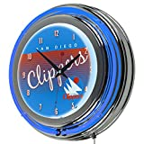 NBA San Diego Clippers Hardwood Classics Chrome Neon Clock, One Size, Blue