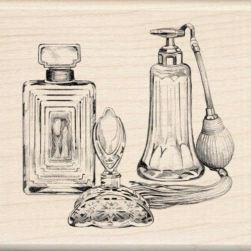 EK Success Inkadinkado Wood Stamp, Antique Perfume Bottles
