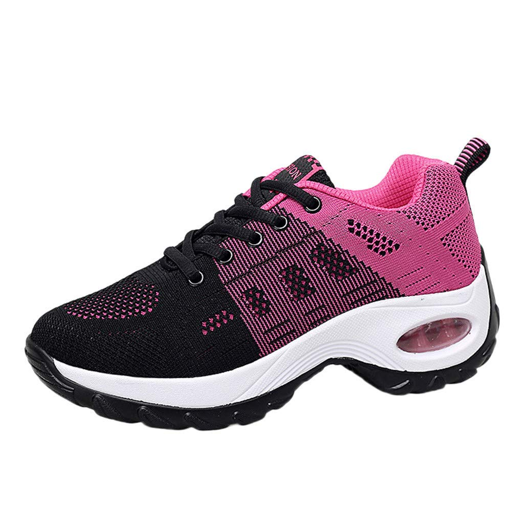 Women's Lace Up Walking Shoe Thick Bottom Athletic Sneakers Mesh Breathabel Sport Shoe Slip On Running Shoe By Lmtime(Hot Pink,35)