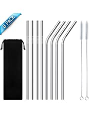 Stainless Steel Straw, Reusable Metal Drinking Straws 8.5 inch with Cleaning Brush and Silicon Tips for 20oz/ 30oz Tumblers Rumblers Cold Beverage (8 Pack)