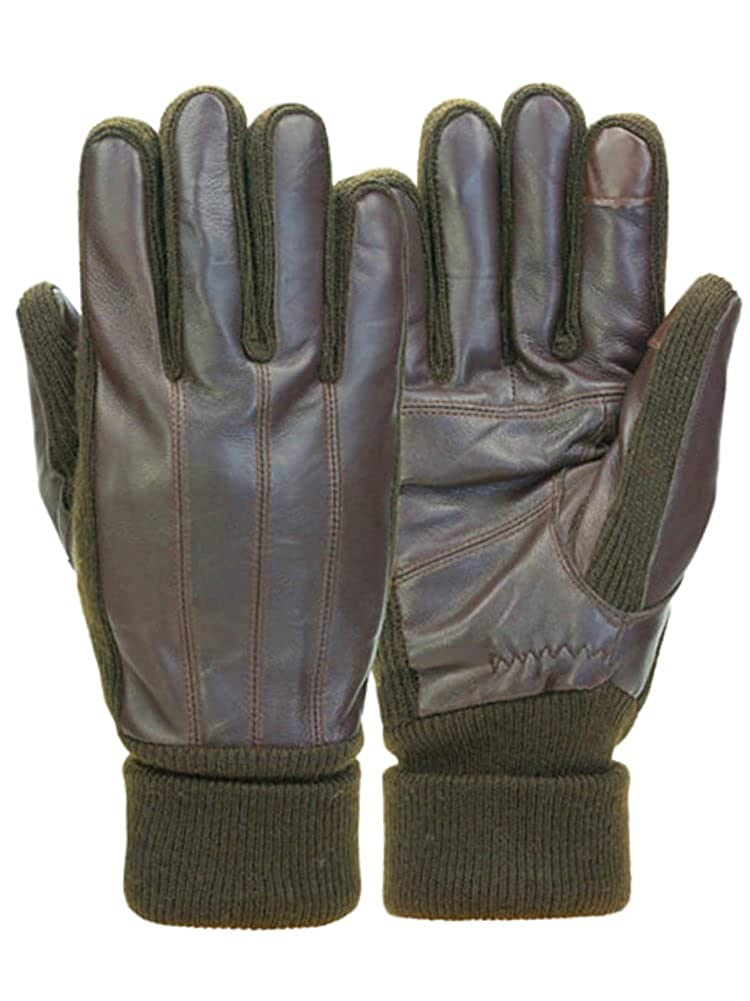 Mens Cuffed Brown Leather Touchscreen Text /& Tech Gloves Thinsulate