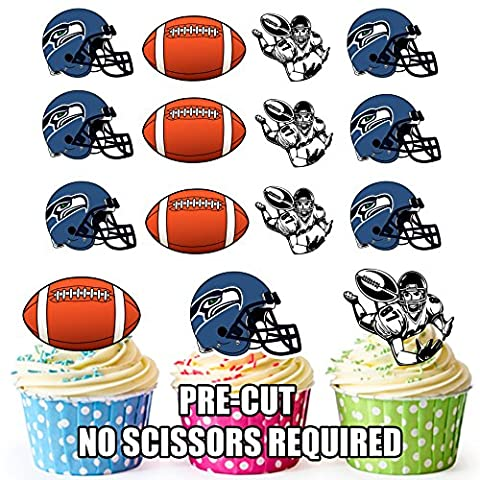 AKGifts American Football NFL Cupcake Toppers / Cake Decorations (Pack of 12) SEATTLE SEAHAWKS (7 - 10 BUSINESS DAYS DELIVERY FROM - Seattle Seahawks Disc