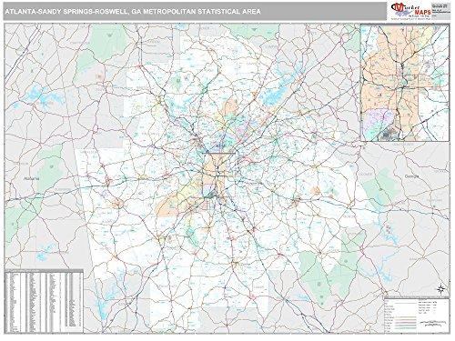 MarketMAPS Atlanta-Sandy Springs-Reswell, GA Metro Area Wall Map - 2018 - ZIP Codes - Laminated - 64W x 48H inches (Furniture Atlanta Ga)