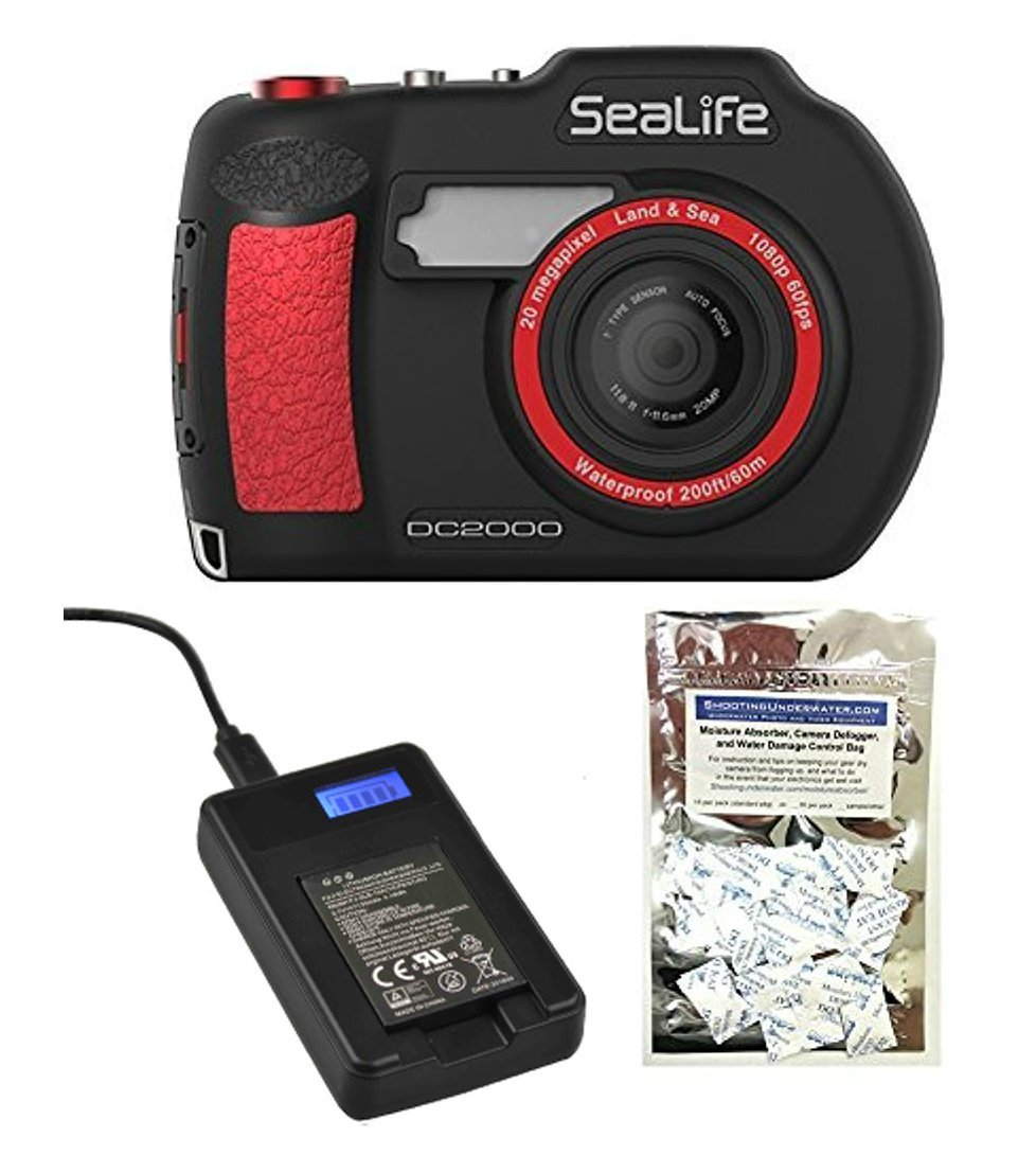 SeaLife DC2000 20MP Underwater Camera SL740 W/ USB Charger for DC2000 Camera's Lithium-Ion Battery and Moisture Absorbers