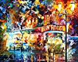 MOULIN ROUGE (PARIS) is an Original Oil Painting on Canvas by Leonid Afremov. Image: 36 x 48. Moulin Rouge is best known as the spiritual birthplace of the modern form of the can-can dance. Originally introduced as a seductive dance by the courtesans...