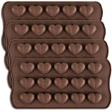 homEdge 15-Cavity Dimpled Heart Shape Chocolate Mold, Silicone Dimpled Valentine Heart Chocolate Gummy and Candy Mold