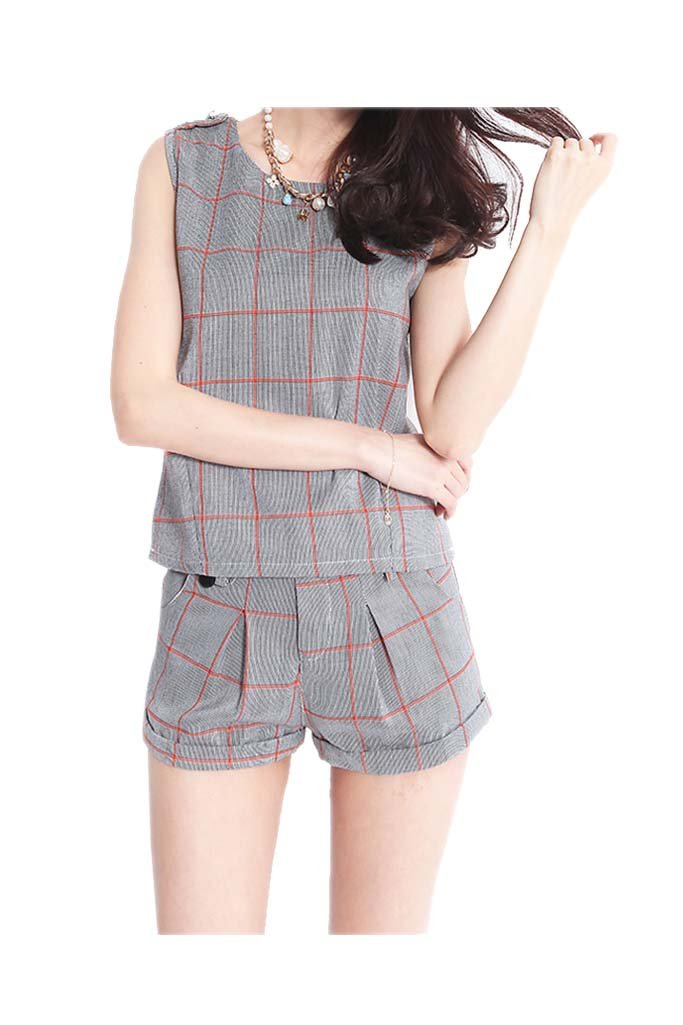 ARJOSA® Womens Plaid Sleeveless Fitted T-shirt Blouse and Shorts 2 Piece Set (M, #2 Grey)