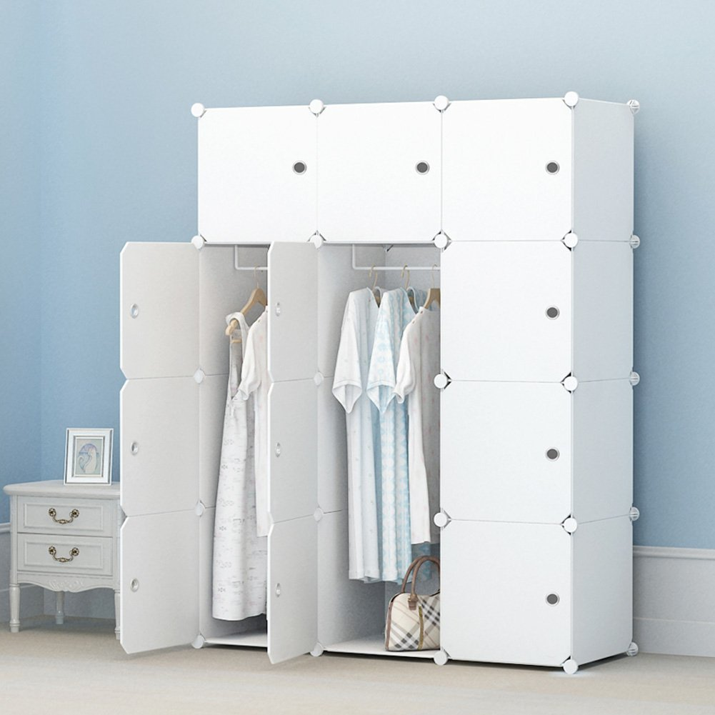 White 10 Cubes+2 Hanging Sections KOUSI Portable Clothes Closet Clothing Storage Plastic Dresser Shelves Armoire Wardrobe Moving Boxes Rack Bins Shelf Closet for Bedroom Organizers and Storage