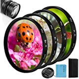 58mm Close-up Filter Kit 4 Pieces(+1,+2,+4,+10) Macro Filter Accessory Close-up Lens Filter Kit Set with Lens Filter Pouch fo