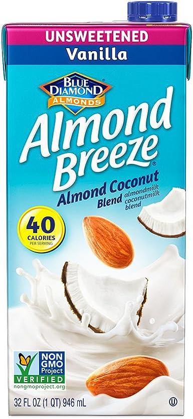 Blue Diamond Unsweetened Vanilla Breeze caja de leche de almendras ...