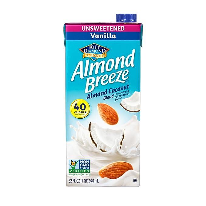 Blue Diamond Unsweetened Vanilla Breeze caja de leche de almendras, leche de coco blend-