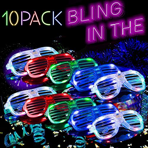 LED Glasses Glow in The Dark Party Favor for Kids 5 Color Light Up Glasses Light Up Toy Rave Neon Glasses St Patricks Day Glow Party Supplies Dress Up Flashing Glasses Bulk Holiday Gifts 10 Pcs
