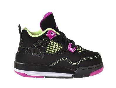 Jordan 4 Retro GT Baby Toddlers Shoes Black/Fuchsia Flash-Liquid Lime-White