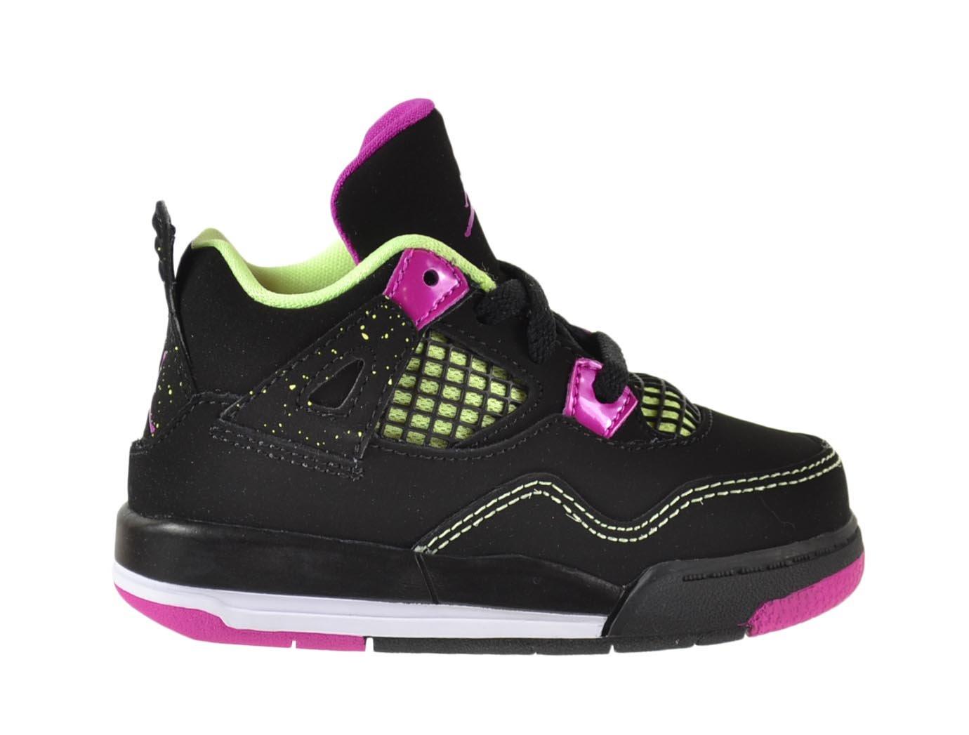 Jordan 4 Retro GT Baby Toddlers Shoes Black/Fuchsia Flash-Liquid Lime-White 705345-027 (6 M US) by Jordan